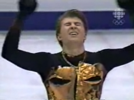 Alexei Yagudin wears a cross during the finale of his 2002 Olympic long program in Salt Lake City, Utah.